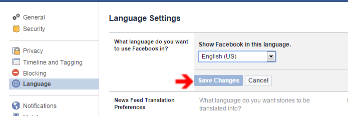 save language settings
